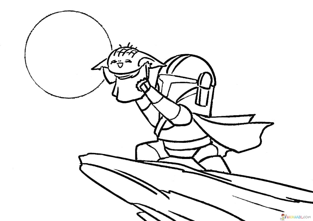 Coloring Pages Baby Yoda The Mandalorian And Baby Yoda Free Yoda Drawing Coloring Pages Star Wars Cartoon
