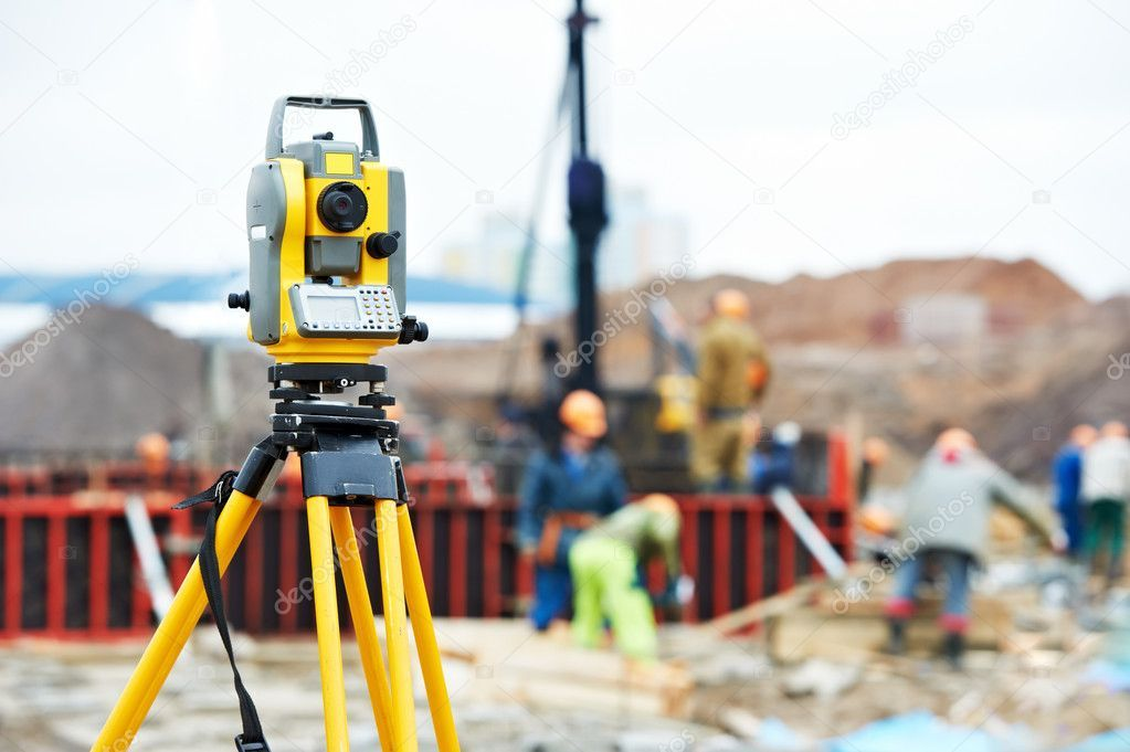 Surveyor Equipment Theodolite At Construction Site 10108457 In