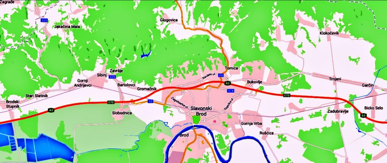 Okolna Mjesta Oko Sl Broda Hrvatska Slavonski Brod Grad Map Screenshot