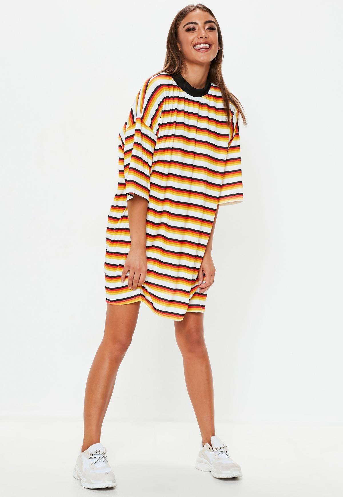 7a0eabbde56 Red And Mustard Stripe Oversized T Shirt Dress
