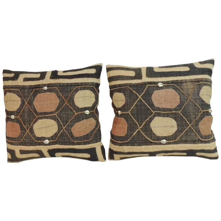 """Pair of Vintage Embroidery African Lumbar Pillows with """"Cowries"""" Shells 