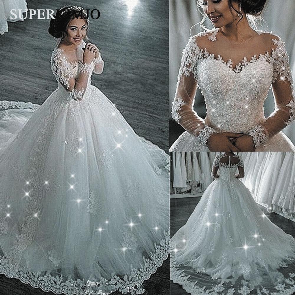 Crystals Wedding Dresses 2020 Lace Applique Elegant Boho Wedding Gown Vestido De Novia Long Sleeve Ball Gown Wedding Dress Ball Gowns Wedding Lace Applique Wedding Dress,Simple Inexpensive Wedding Dresses