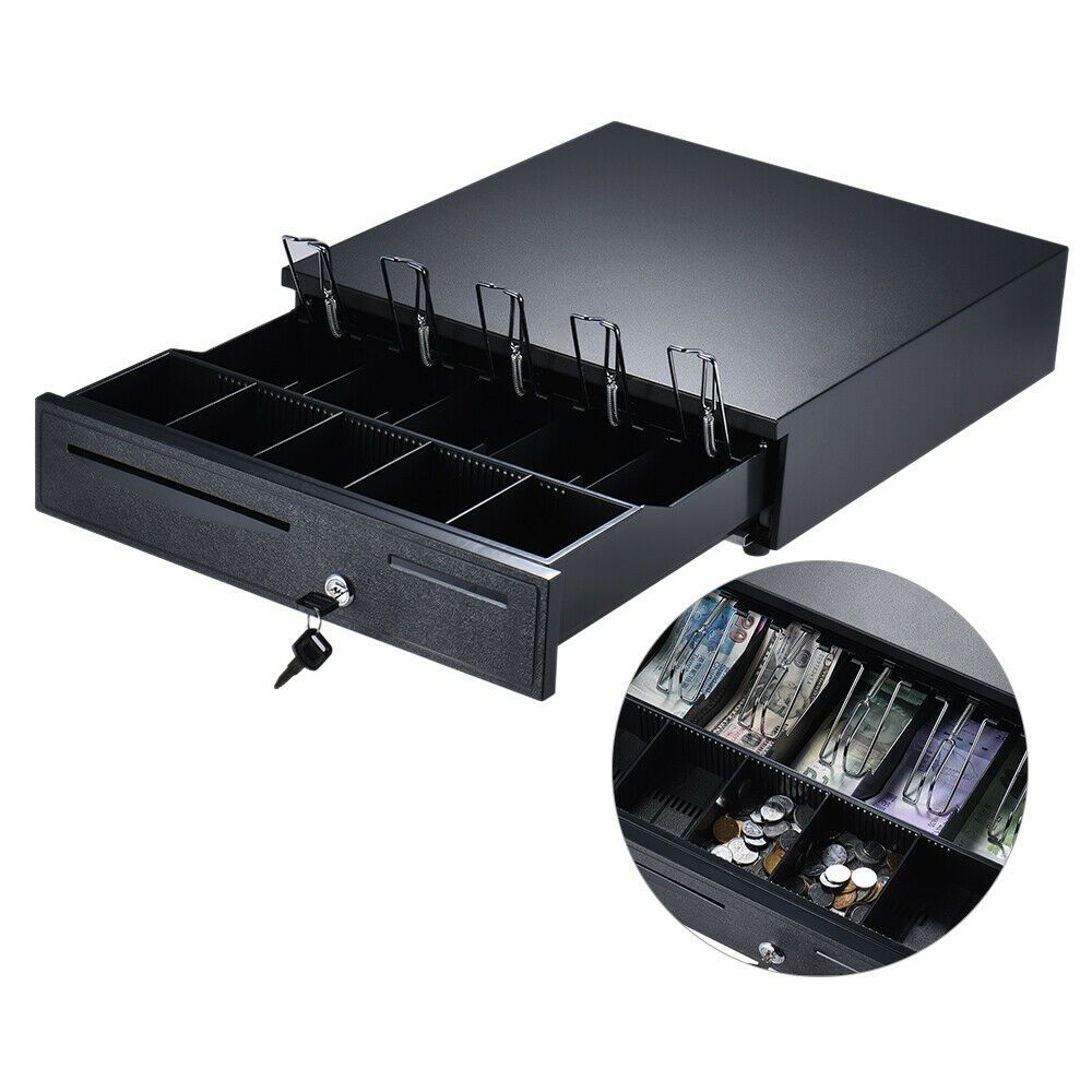 Cash Drawer Box Works Compatible Epson POS Printers w// 4 Bill /& 5 Coin Tray