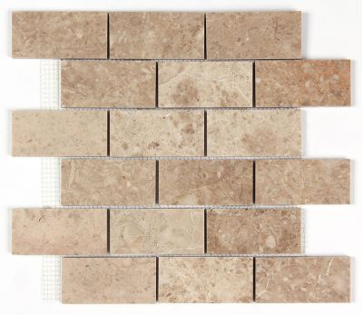 Cappuccino Polished Marble 2x4 Brick Mosaic Tile Premium Quality