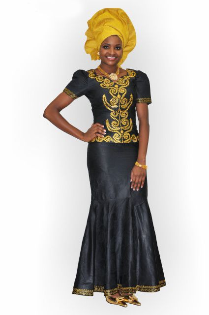 2c620ff17f9 Black and Gold African Brocade Skirt Set
