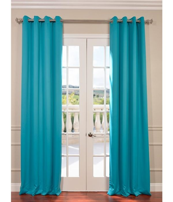Turquoise Blue Grommet Blackout Curtain Turquoise Curtains Half