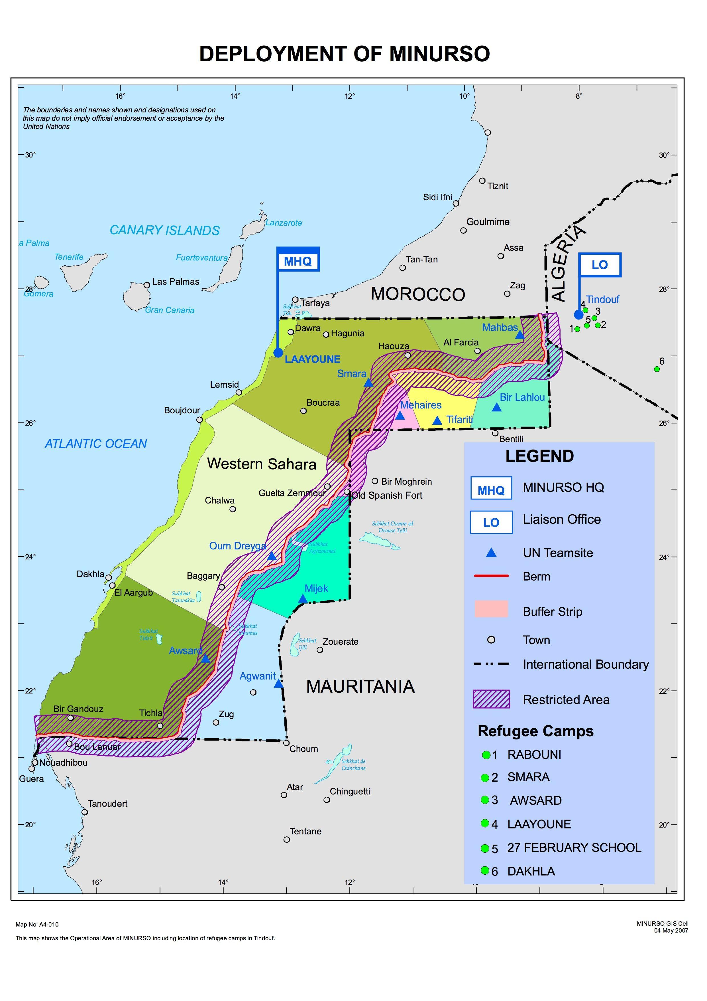 Western Sahara deployment of MINURSO httpwwwunorgen
