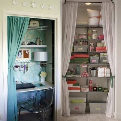Good Optimize Storage Space And Open Up A Room By Removing Closet Doors And  Hanging Curtains Instead