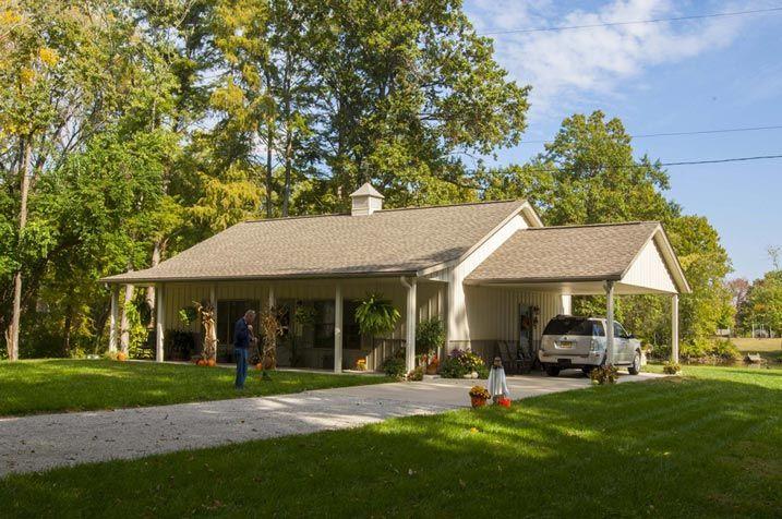 Superb Metal Building Home w Carport Porch HQ Pictures