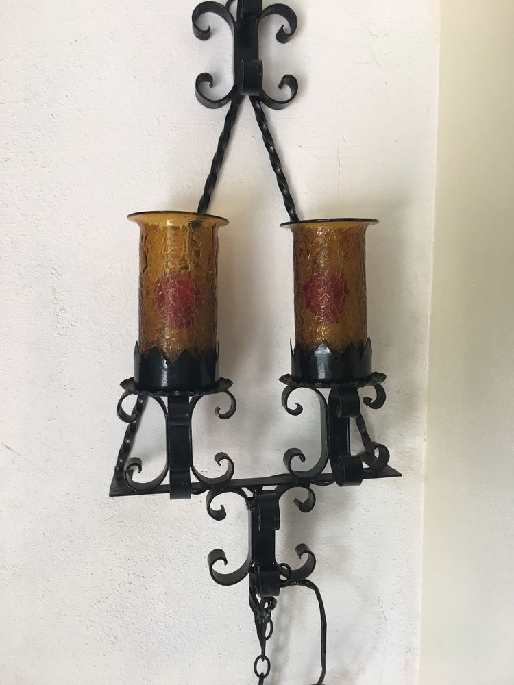Vintage Spanish Revival Gothic Wall Lamp Black Forged Iron With