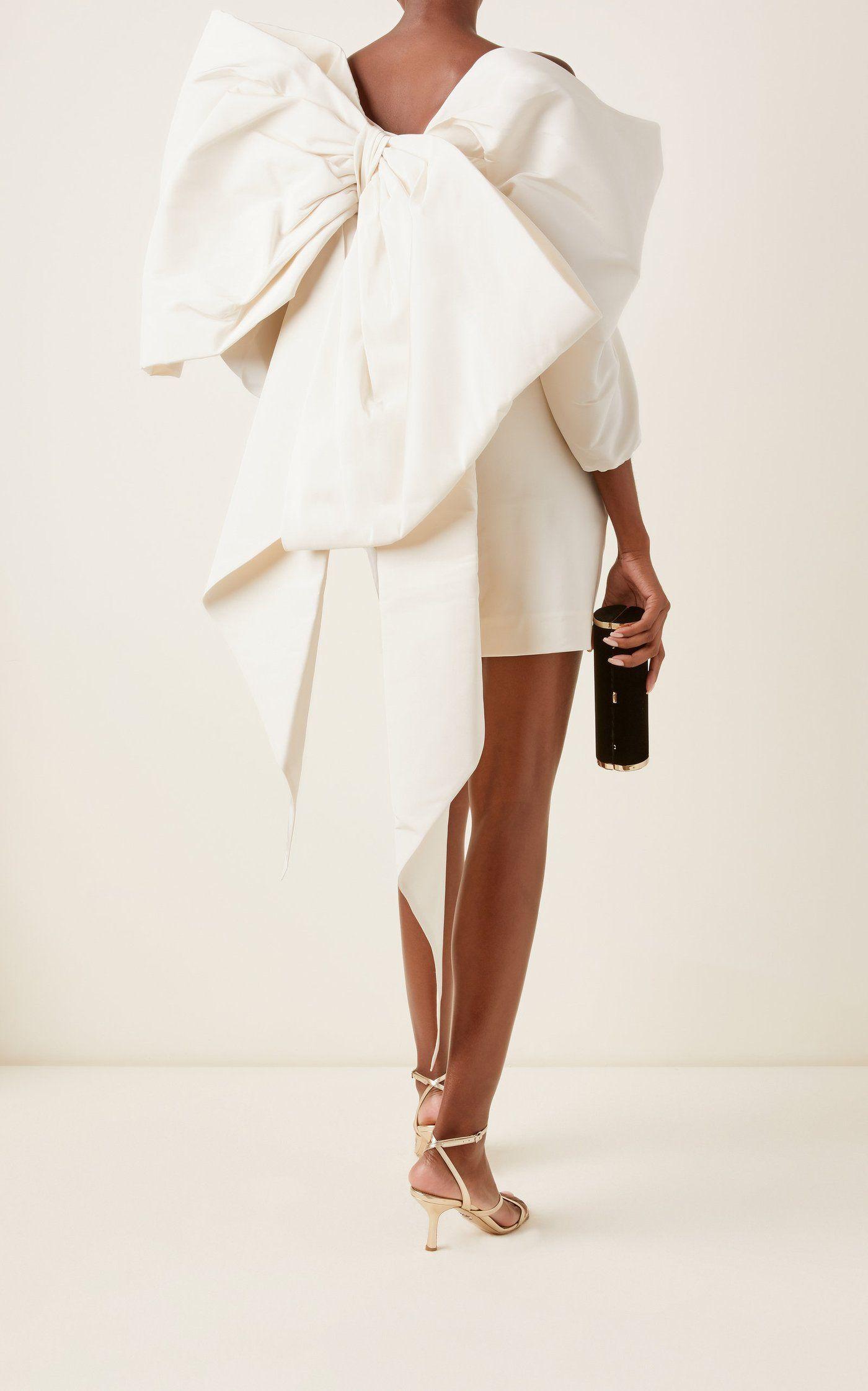 Minivestido de faille de seda adornado con lazo  – Moda