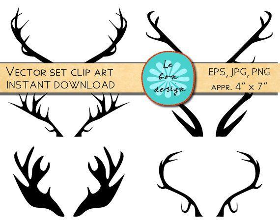 Printable art antlers / clip art deer antler print/ christmas ...