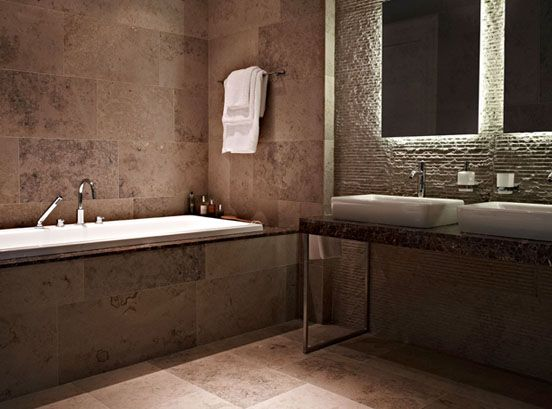 Bathroom suite featuring Argento natural stone floor and wall – Stone Bathroom Tiles