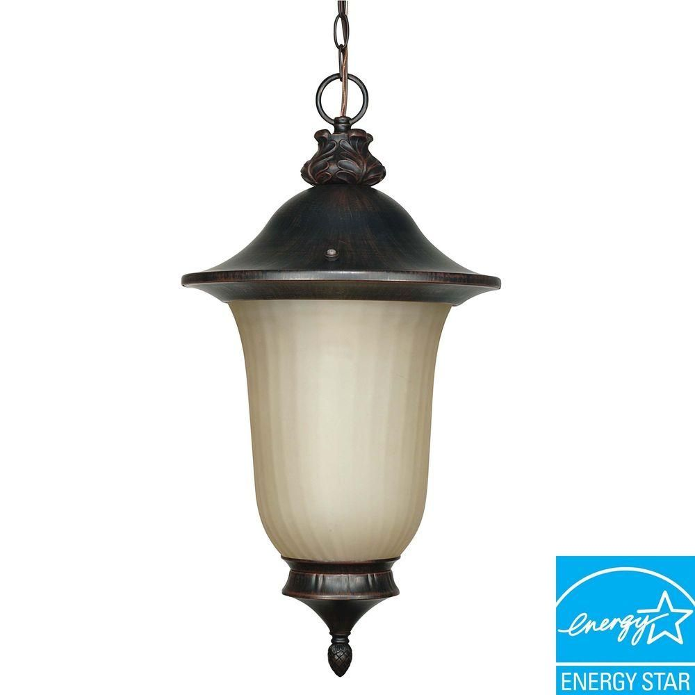 Green Matters 1-Light Hanging Outdoor Old Penny Bronze Lantern-HD-2509 - The Home Depot