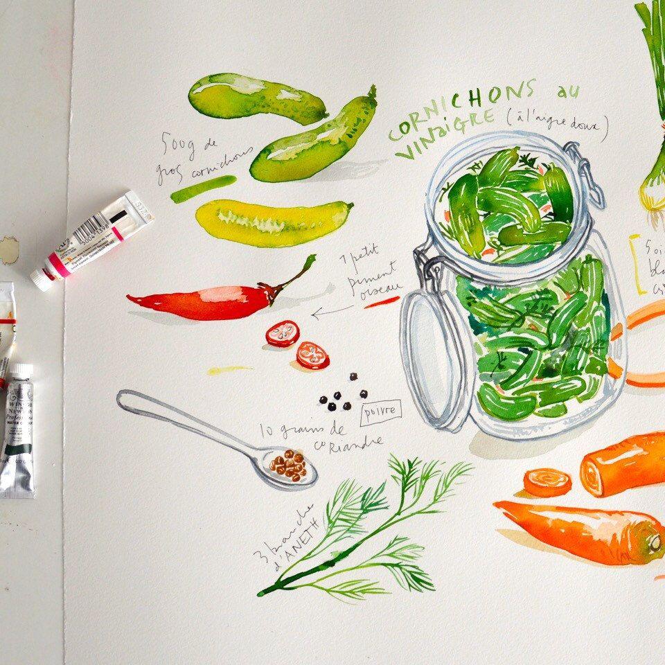 pickles l gumes marin s recette illustr e aquarelle d coration cuisine affiche cuisine art. Black Bedroom Furniture Sets. Home Design Ideas