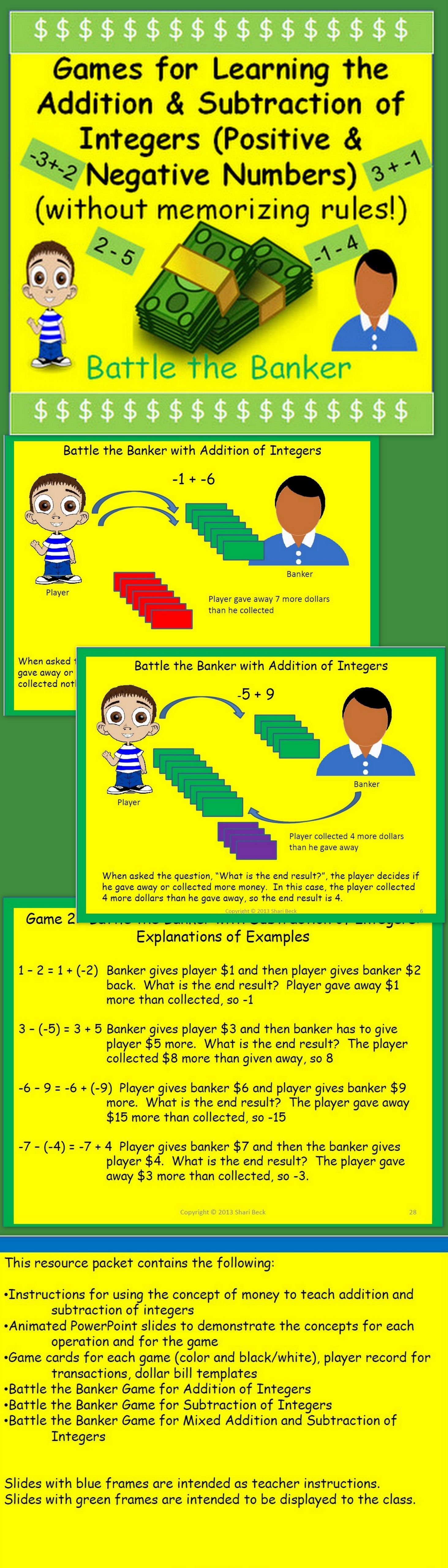 Adding and Subtracting Integers Game - Math Play