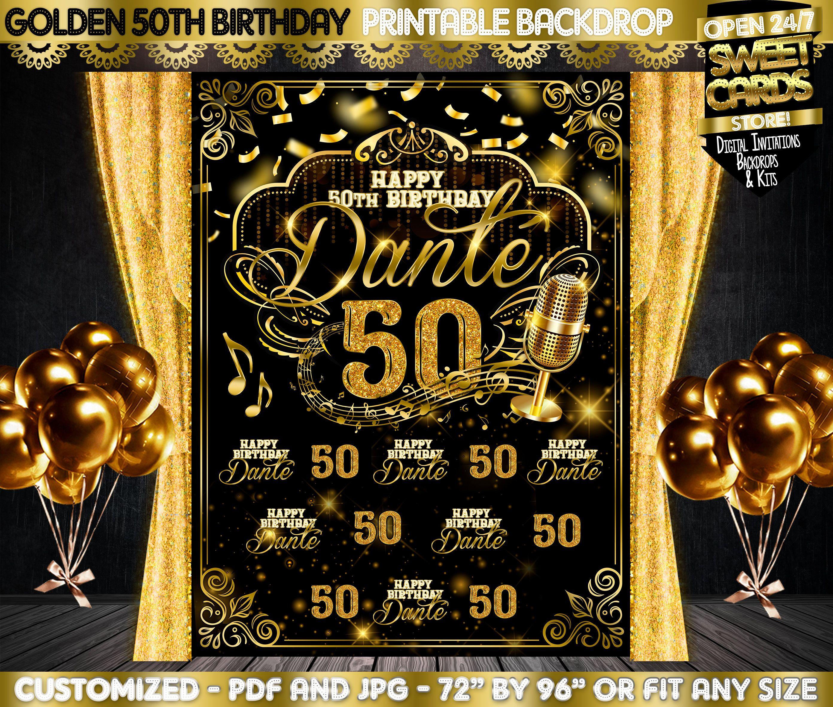 5OTH Birthday Printable Party Backdrop, Fifty Birthday