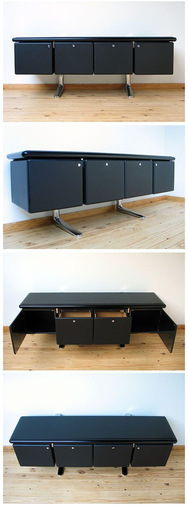 Black Leather And Oak Credenza With Plated Cast Iron Chrome Feet Designed  By Warren Platner (Executive Office Collection) For Knoll International.