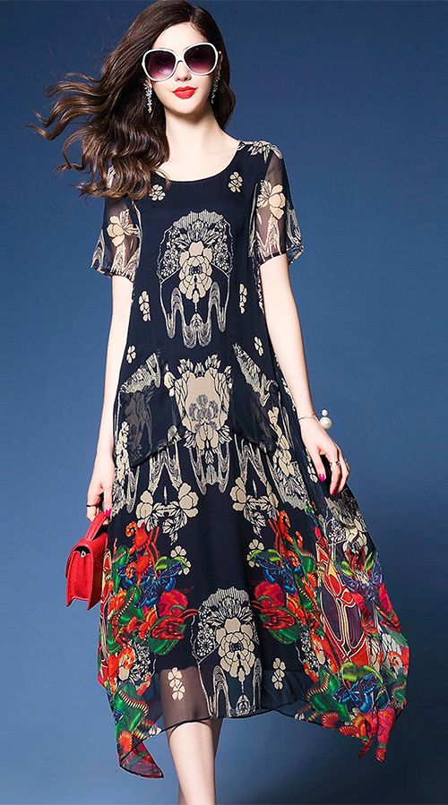 e01cc9206bcc Women s Going out Casual Daily Plus Size Simple Chinoiserie Sophisticated  Loose Chiffon Swing Dress