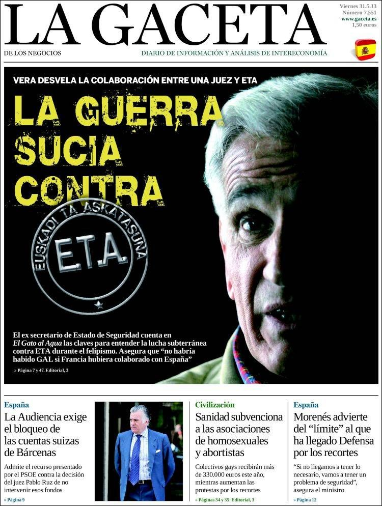 Los Titulares y Portadas de Noticias Destacadas Españolas del 31 de Mayo de 2013 del Diario La Gaceta ¿Que le parecio esta Portada de este Diario Español?