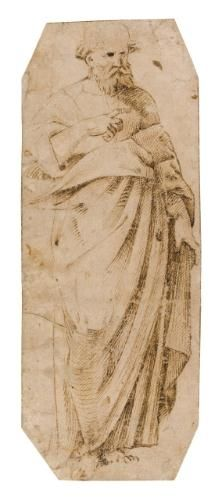 Artwork by Ridolfo Ghirlandaio, a standing apostle, Made of Pen  and  brown  ink