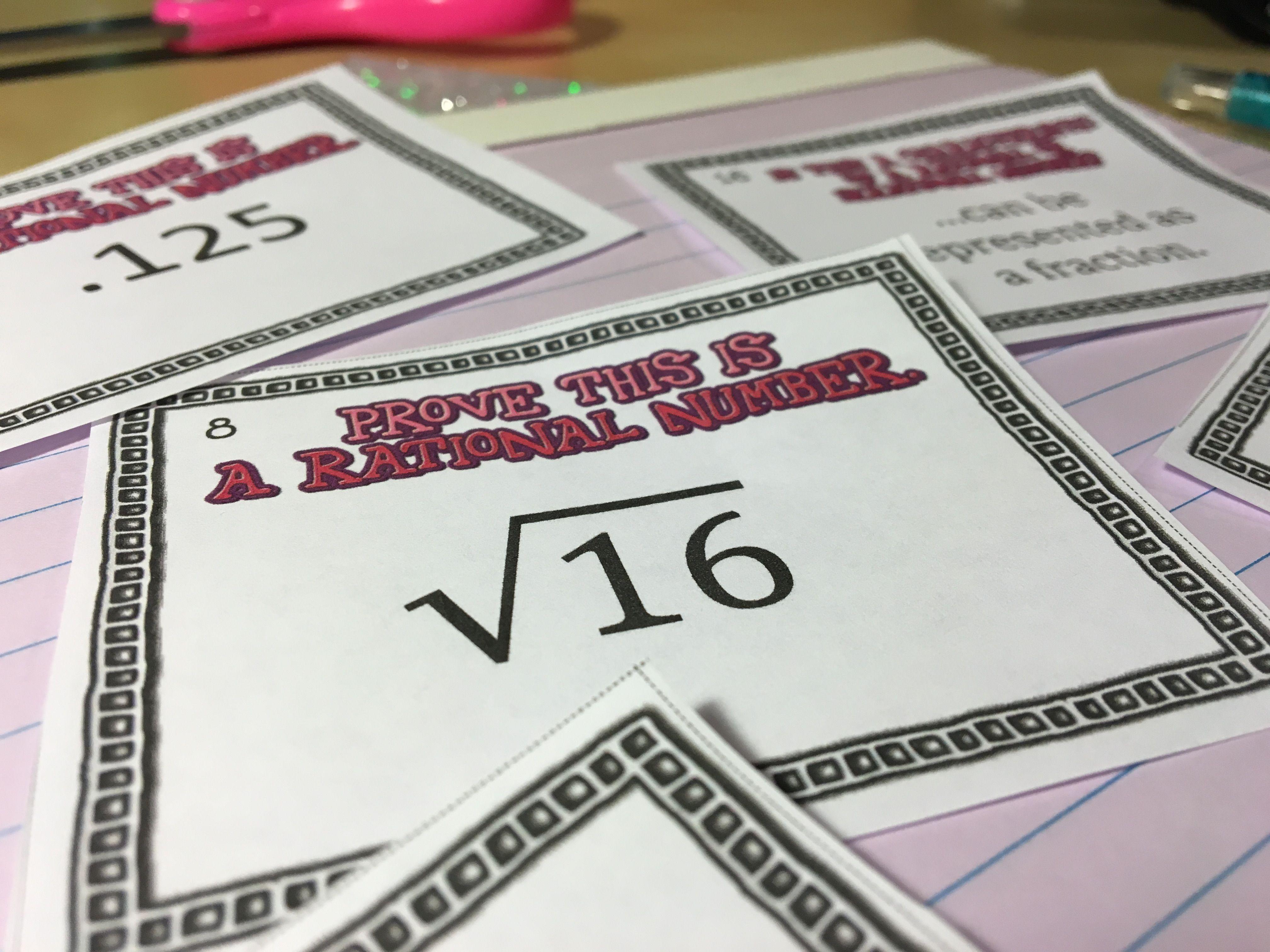 Rational Vs Irrational Numbers Mini Task Card Set