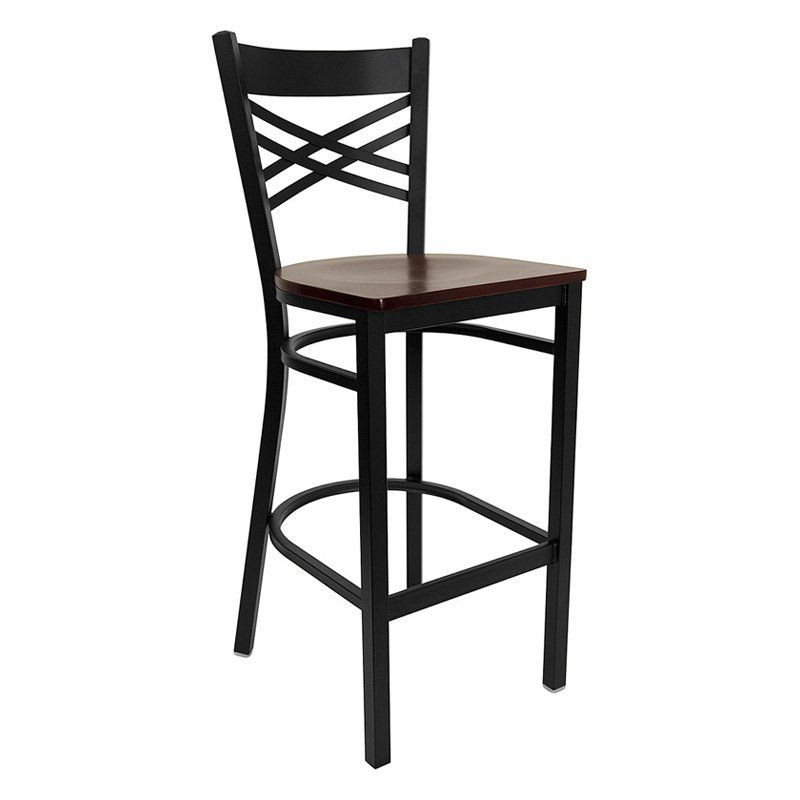 Flash Furniture 31 in. Hercules X-Back Restaurant Wood Seat Bar Stool - Black Mahogany - XU-6F8BXBK-BAR-MAHW-GG