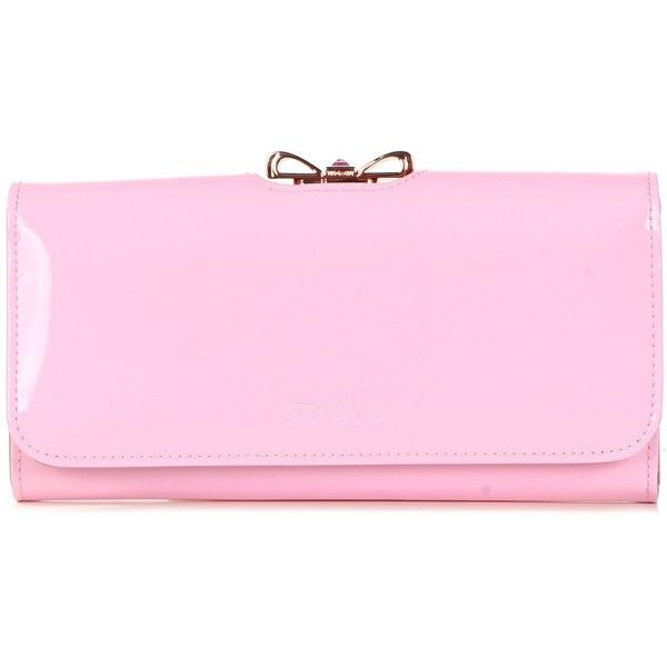 Ted Baker Lindar Crystal Bow Bobble Patent Purse (575 VEF) ❤ liked on Polyvore featuring bags, dusky pink, ted baker, bow bag, pink bag, ted baker bag and pink bow bag