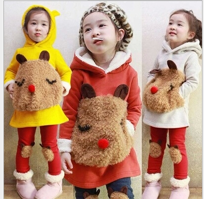 34.72$  Watch more here - http://ai5km.worlditems.win/all/product.php?id=32225029634 - New winter children's clothing suit girl child autumn children thickening fleece sweatshirt + legging child clothes set
