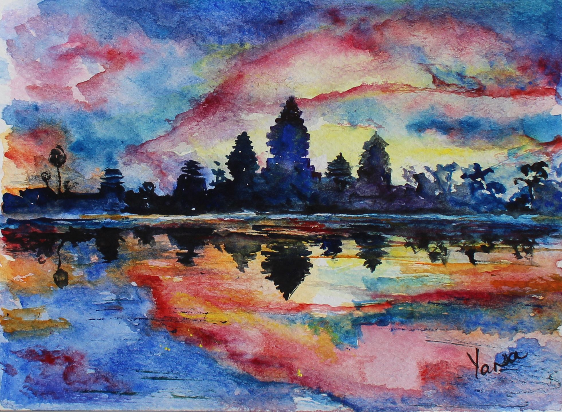 Original watercolor art for sale - Angkor Wat Cambodia Beautiful And Mysterious The Largest Religious Monument In The World Original Watercolor Artwork Available For Sale