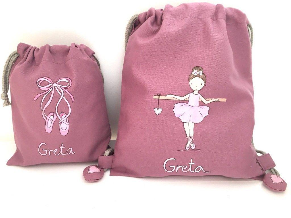 146fd44eb Mochila de ballet para la pequeña Greta y bolsita para sus zapatillas a  conjunto. #mochilasniños #personalizado #pintadoamano