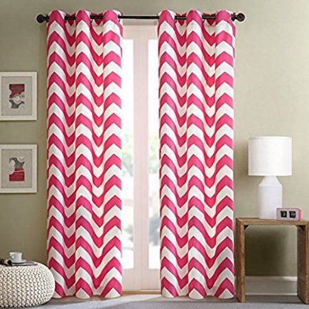 """Chevron Thick Heavy Micro Soft Grommet Thermal Insulated 100% Sun Blackout Curtain Panel 54"""" x 84"""" Hot pink"""
