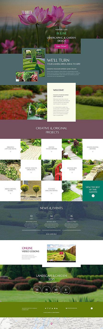 Template 53838 Iq Garden Responsive Landing Page Template Creative Web Design Web Design Software Site Design