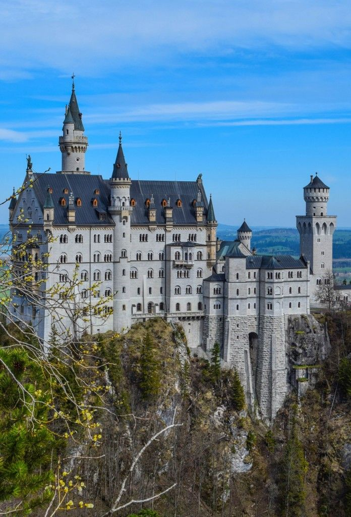 Neuschwanstein Castle - Bavaria, Germany - Walt Disney's inspiration for Disneyland's Sleeping Beauty Castle. Located near the charming Bavarian village of Hohenschwangau, the area makes a great base for exploring the castle.
