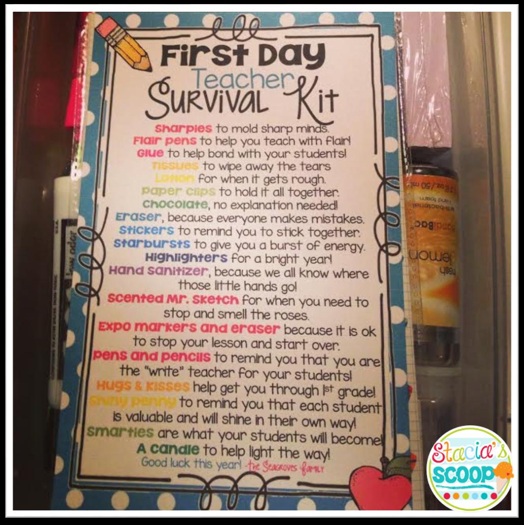 First Day Teacher Survival Kit and a Freebie! | Preschool ...