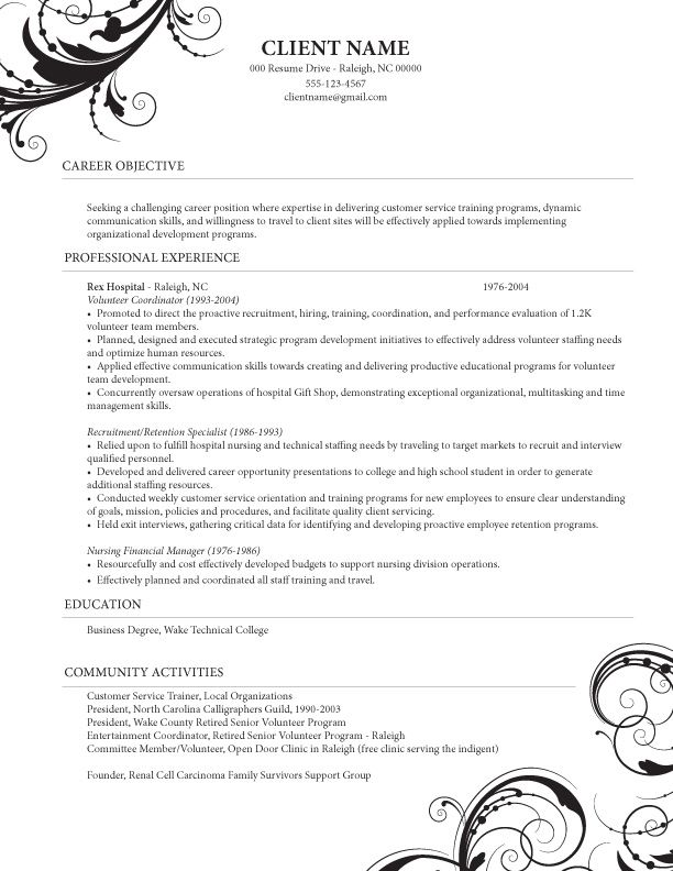 caregiver professional resume templates