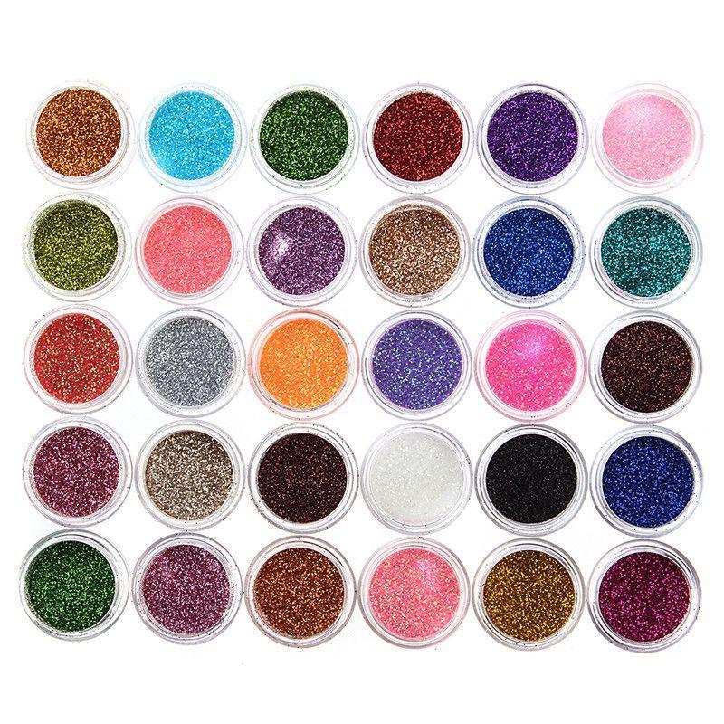 30pcs Powder Nail Polish Pigment Shimmer Glitter Mineral Spangle