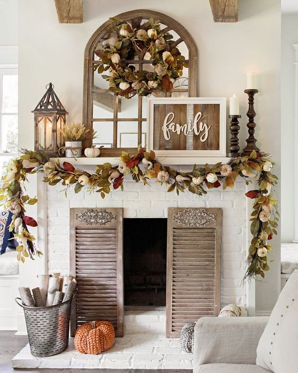 24 Eye Catching Fireplace And Mantle Decorating Ideas For Autumn -   24 apartment fireplace decor ideas