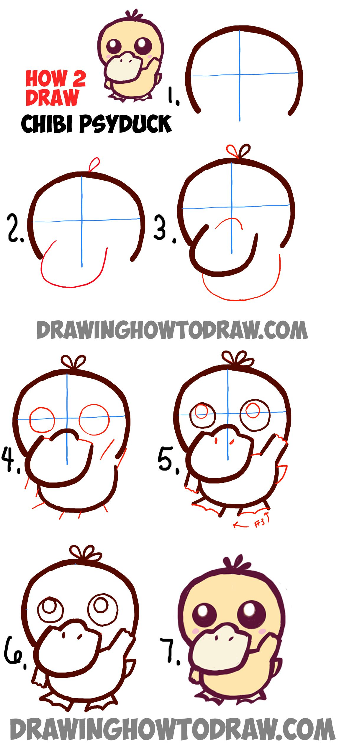 How To Draw A Cute Baby Chibi Psyduck From Pokemon In Easy