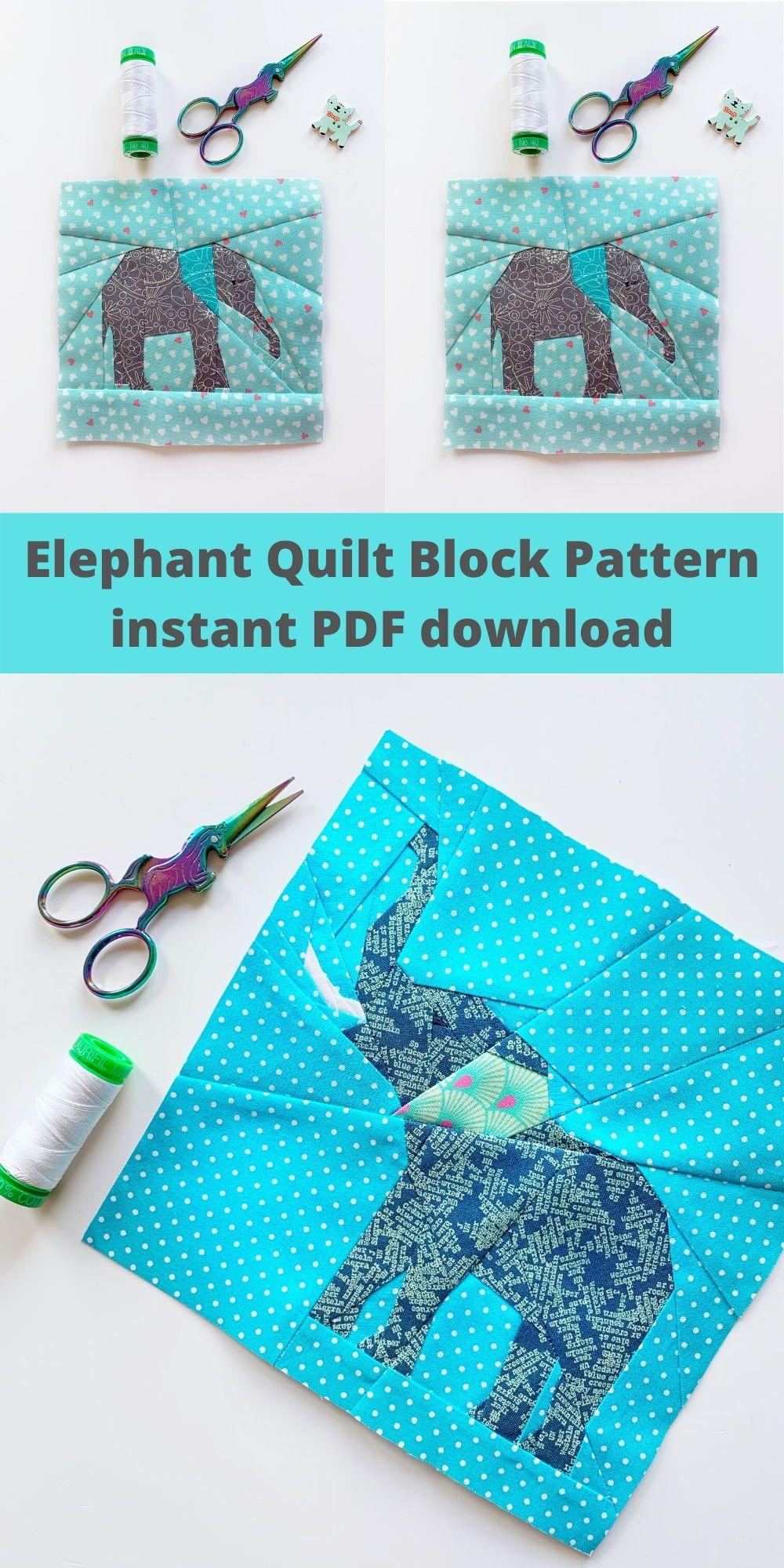 Photo of Fantastic Elephant Quilt Pattern, PDF Instant Download