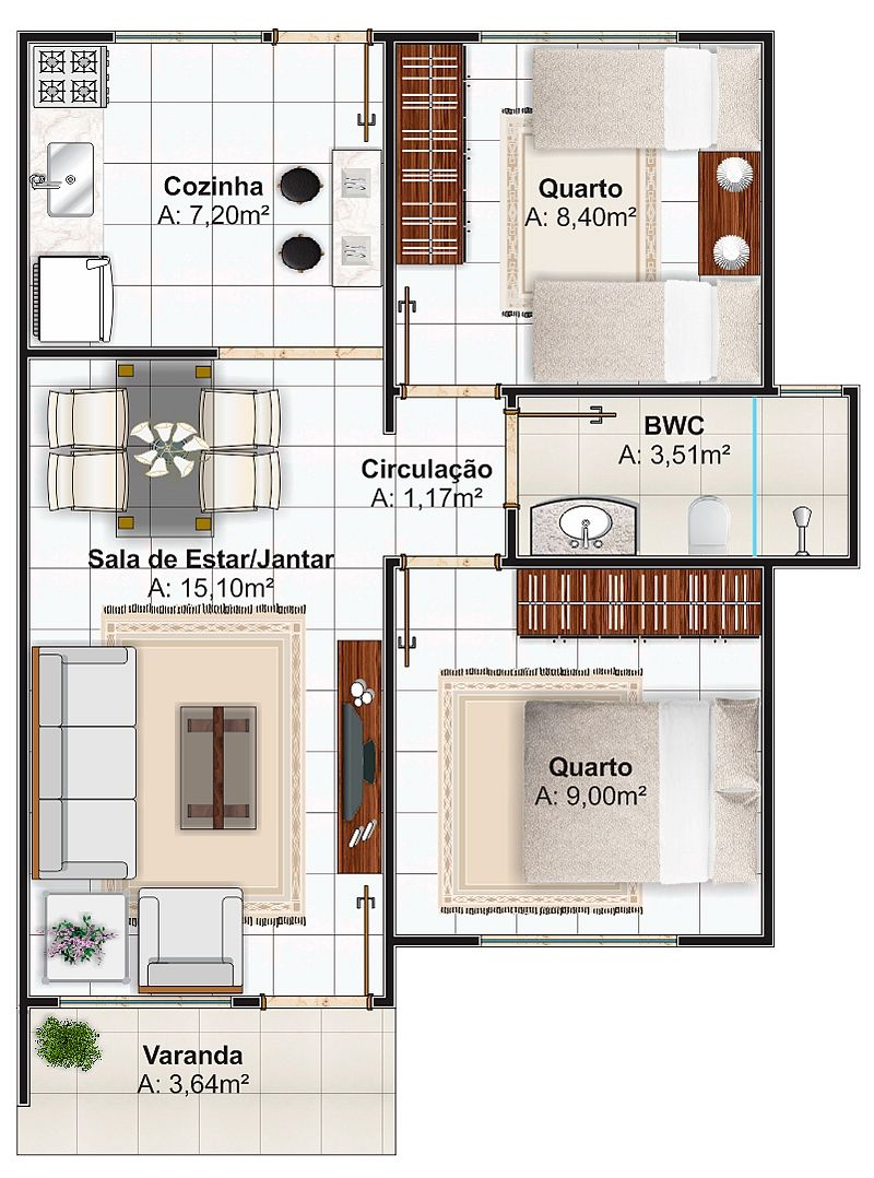 Pin de juliana veronica sehnem obenaus en projeto for Decoracion casas 70m2