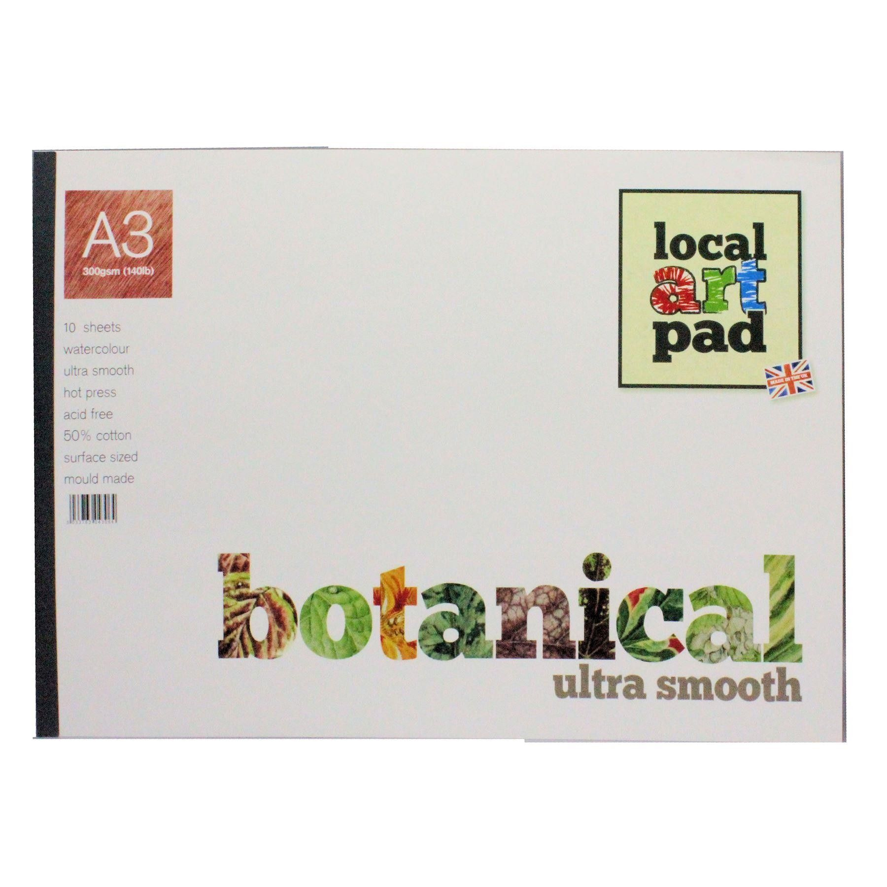 Local Art Pad A3 Botanical Hot Press Smooth Watercolour Paper Pad