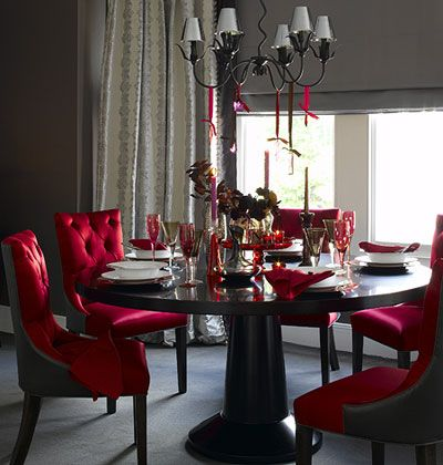 20 Dramatic Gothic Kitchen And Dining Room Designs With Wooden Table Red Chair Big Window