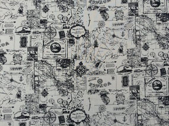 World map black stamps london atlas voyage travel holiday fabric world map black stamps london atlas voyage travel holiday fabric vintage brown linen upholstery curtains quilting gumiabroncs Gallery