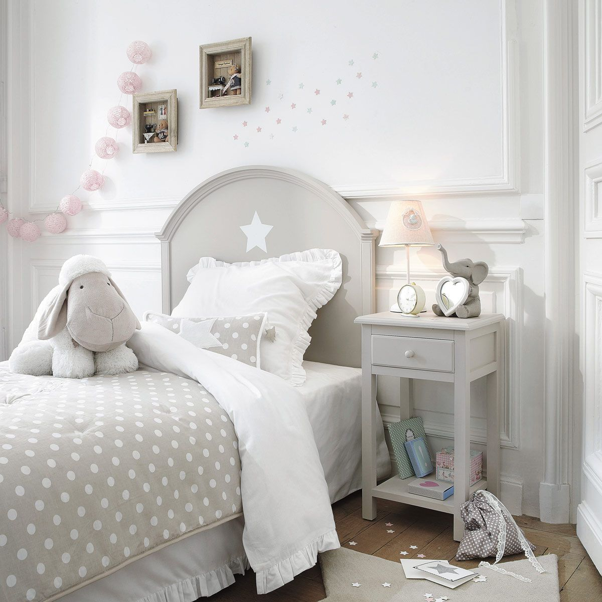 grey and white little girls room with