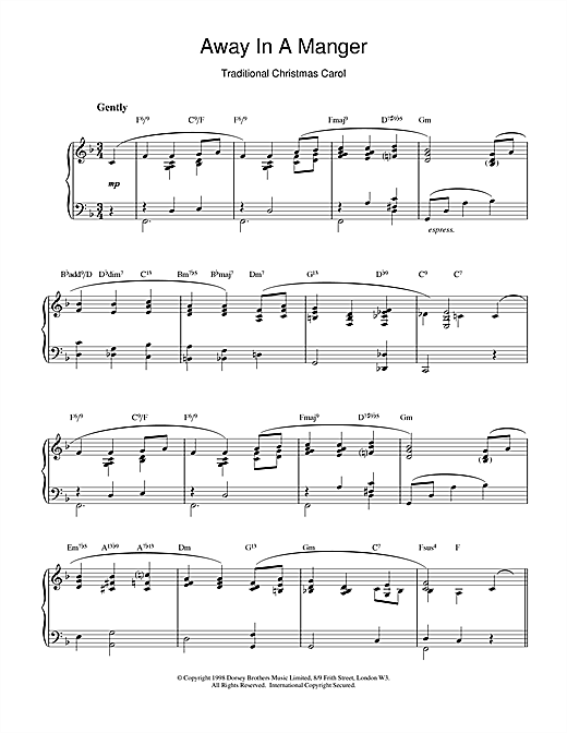 Christmas Carol 'Away In A Manger (jazzy arrangement)' Sheet Music Notes, Chords, Score ...