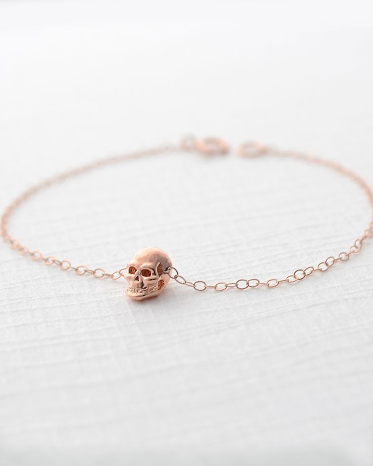 Rose gold mini skull necklace
