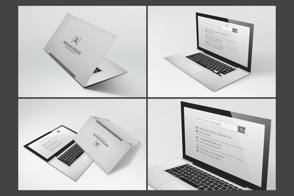 Laptop folded business card template folded business cards card laptop folded business card template cheaphphosting Images