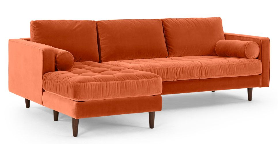 Scott Canape D Angle 4 Places Avec Meridienne A Gauche Velours De Coton Orange Brule Case Di Design Arredamento Casa Letto A Baldacchino