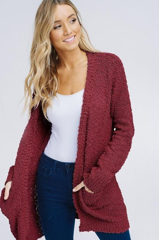 a37bb07a74 Burgundy Plush Popcorn Cardigan Sweater from Divine Couture Boutique